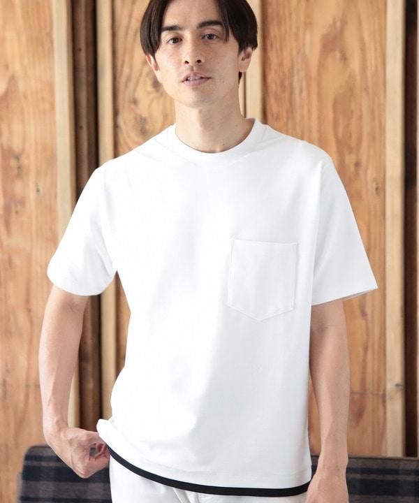 フェイクレイヤードポケットTシャツ[接触冷感]
